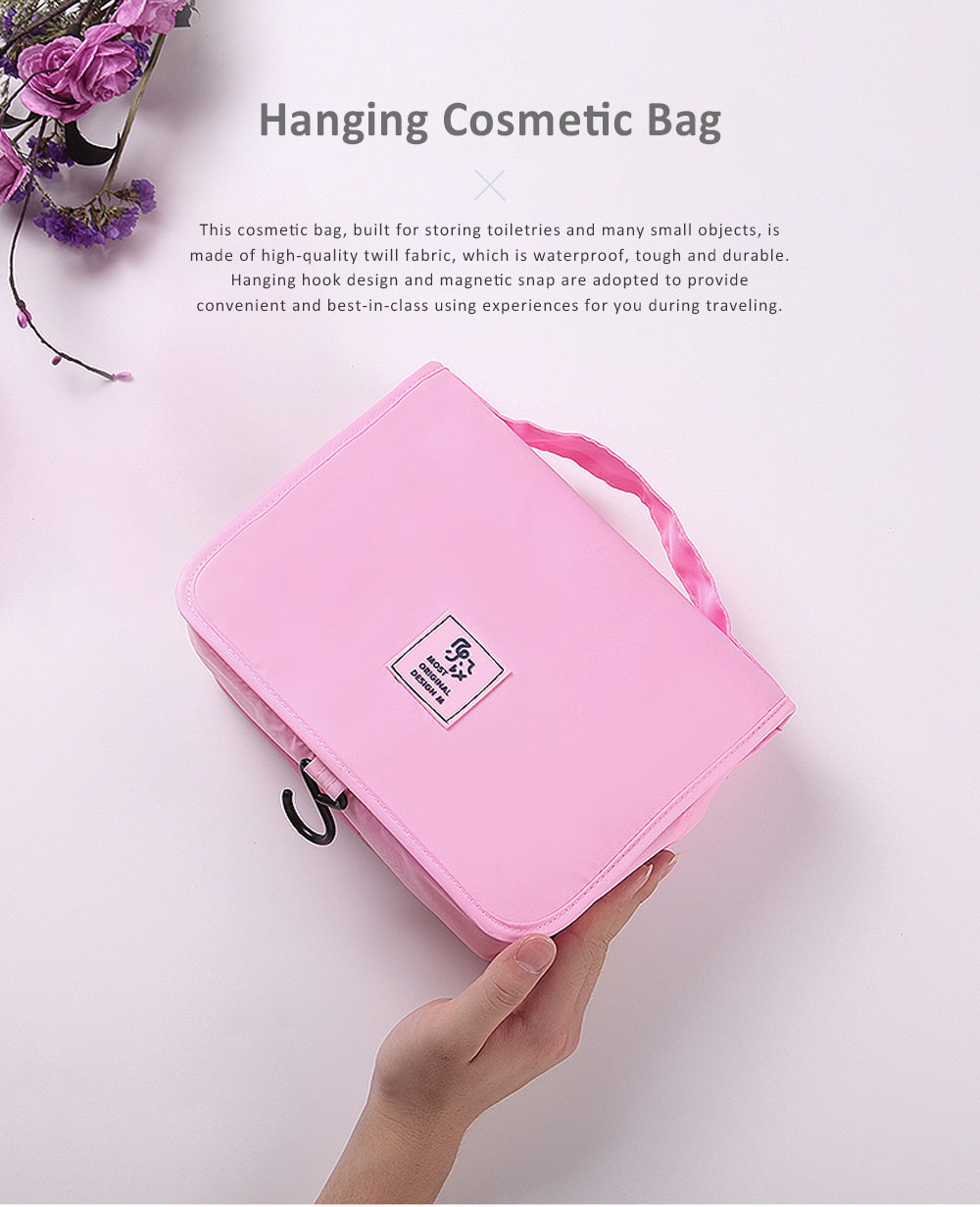Large Capacity Waterproof Twill Fabric Makeup Cosmetic Bag, Minimalist Portable Functional Travel Toiletry Wash Storage Hanging Bag 0