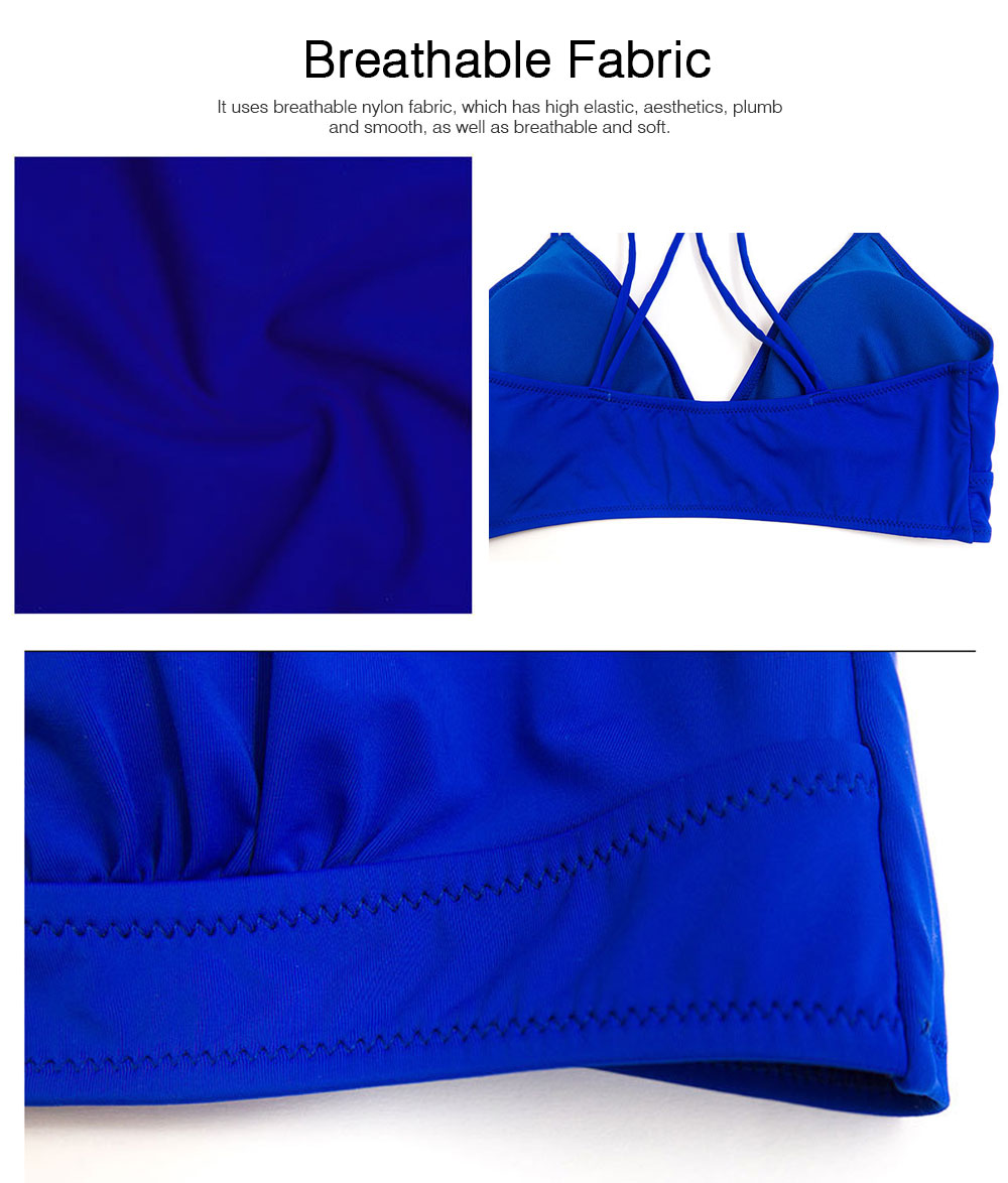 Women's Double Shoulder Straps Bikini, Cozy Ultra-Thin Sexy Triangle Cup Gathered Women's Bikini Set, No Steel Swimming Suit Bikini 1