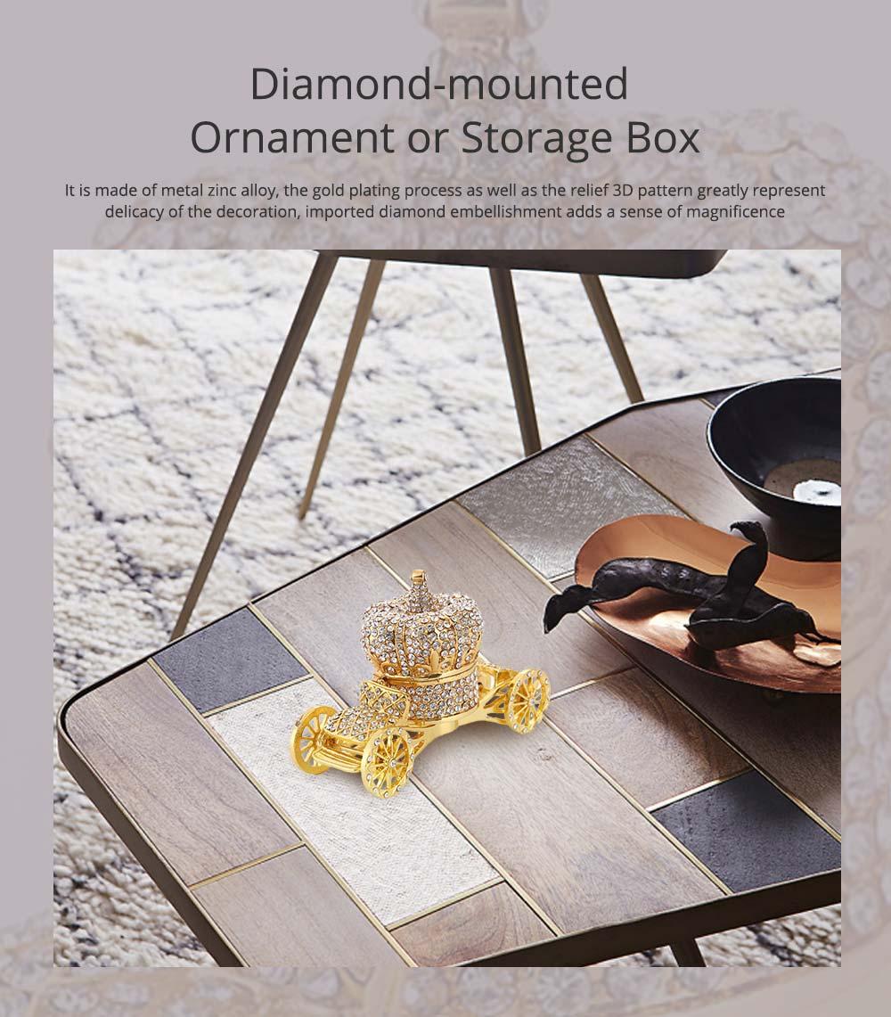 European Style Luxury Jewelry Storage Case, Diamond-mounted Artwork Crown Storage Box with Car-shaped Decoration Ornament  0