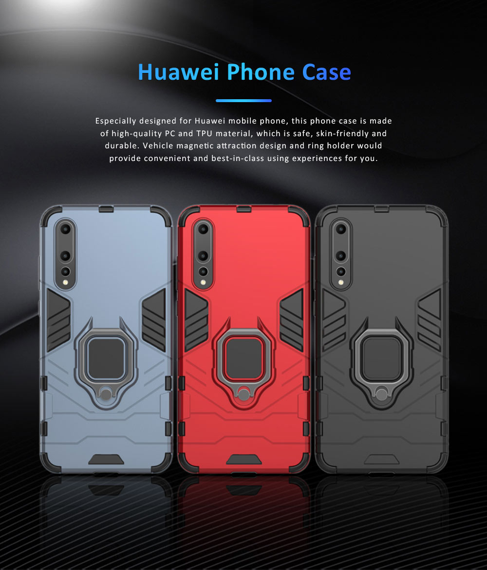 Soft PC TPU Huawei Phone Case with Vehicle Magnetic Attraction, Minimalist Luxury Breaking-proof Phone Cover with Ring Holder 0