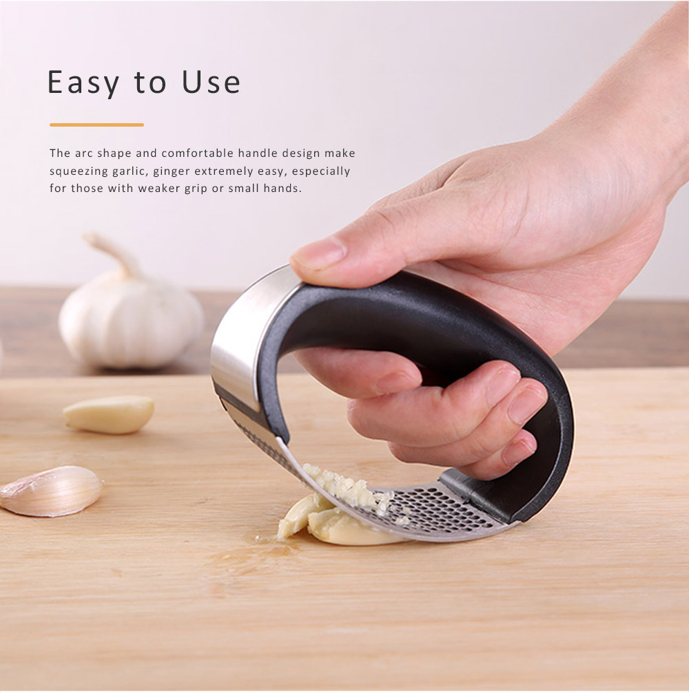 Garlic Press Squeezer Stainless Steel Ginger Crusher Chopper Rocker with Ergonomic Handle  Kitchen Gadgets Accessories Cutting Tool Cutter 2