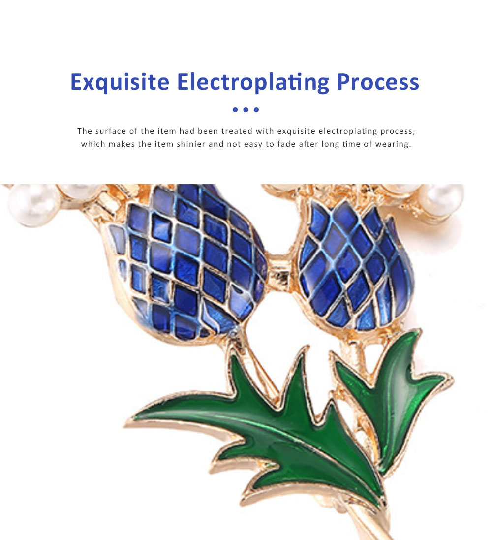 Elegant Brooch Oil-spot Glaze Pearl Decoration Pineapple Tree Breastpin, Delicate Fine Shiny Durable Alloy Brooch Clothes Scarf Ornament 3
