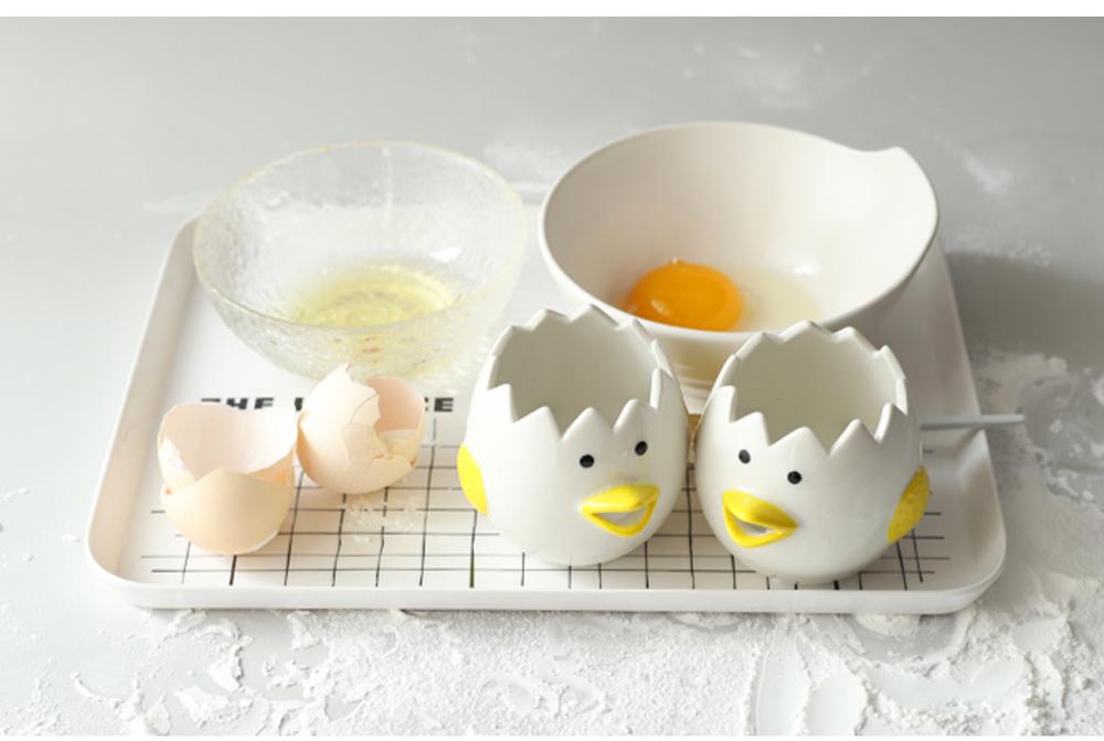 Ceramic Egg Separator for Baking Creative Egg Separator Egg Yolk White Separator Kitchen Gadgets Baking Tool Automatic Separating Bakeware Tool Egg Separator Tool 8