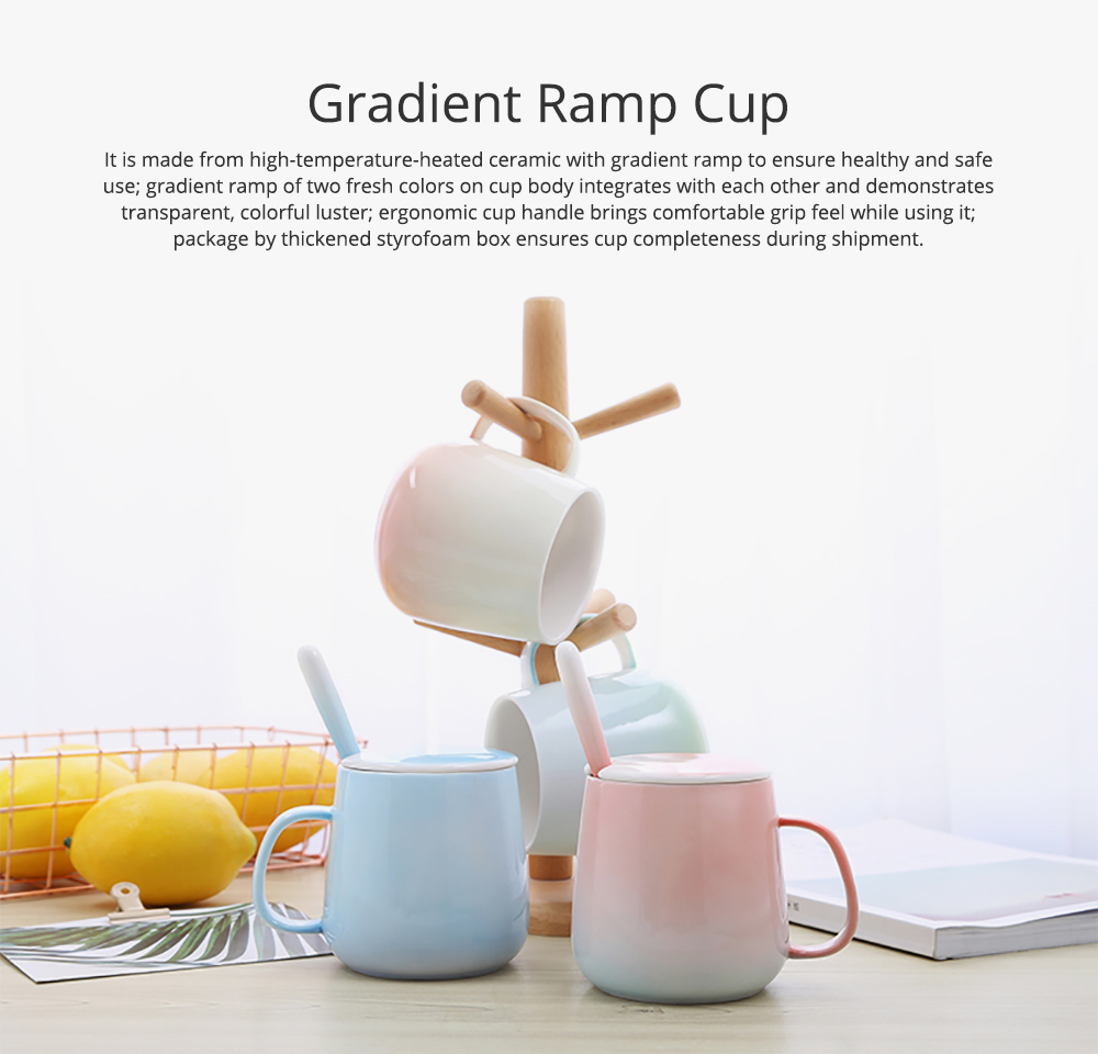 Ceramic Gradient Ramp Color Cup for Household Use Coffee Cup with Cover & Spoon Lovers' Choice Office Cup Ceramic Cup for Breakfast Large Capacity Coffee Mug 0