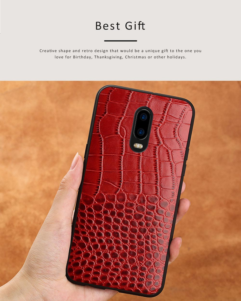 Phone Case Retro Genuine Leather 3D Alligator Skin Texture Case Fashion Phone Accessories for OPPOR Series 5