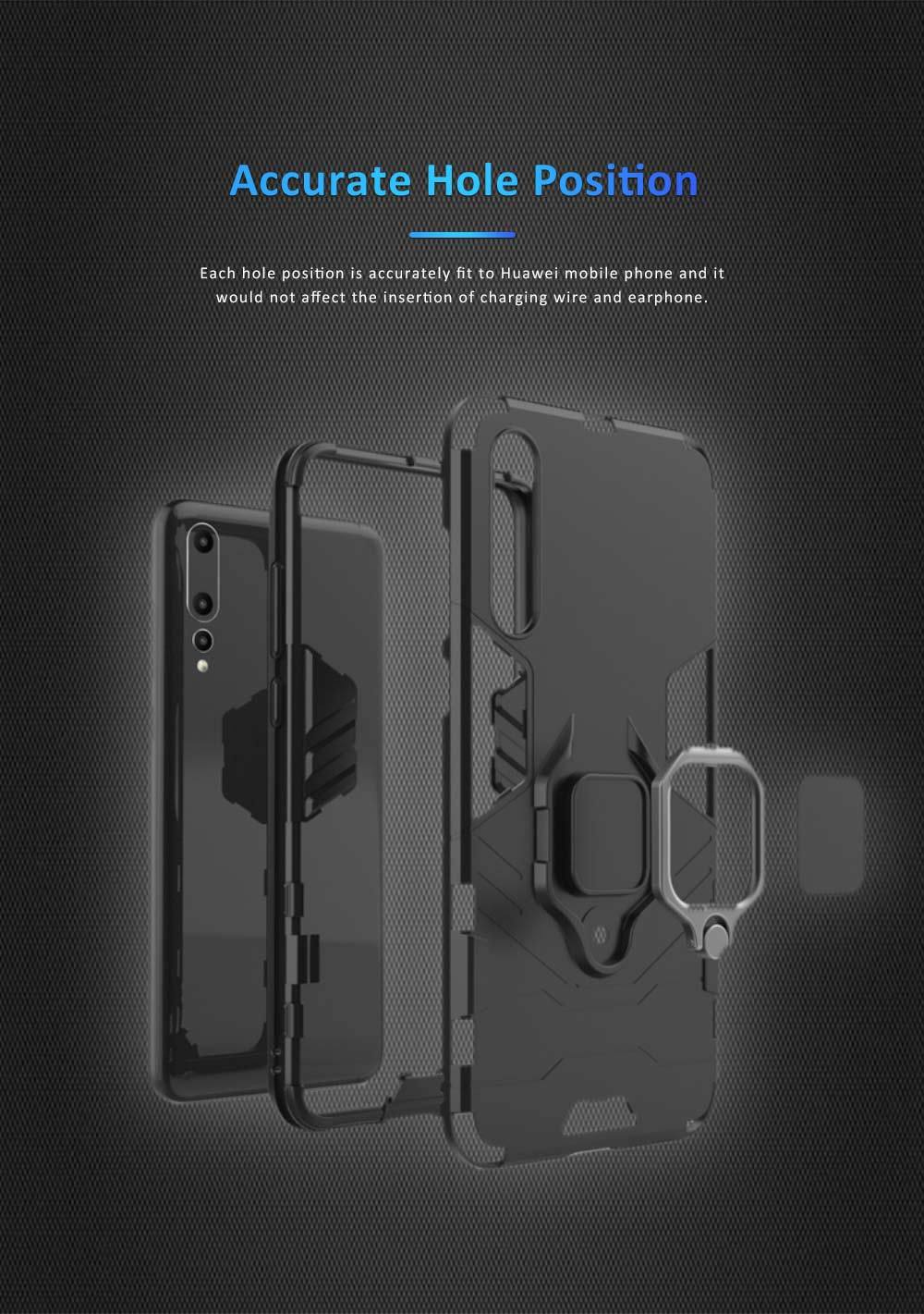 Soft PC TPU Huawei Phone Case with Vehicle Magnetic Attraction, Minimalist Luxury Breaking-proof Phone Cover with Ring Holder 2
