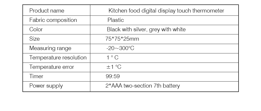 Outdoor Barbecue Thermometer Timer, Kitchen Food Digital Display Touch Thermometer, Cooking Thermometer with Food Grade Stainless Steel Probe 7