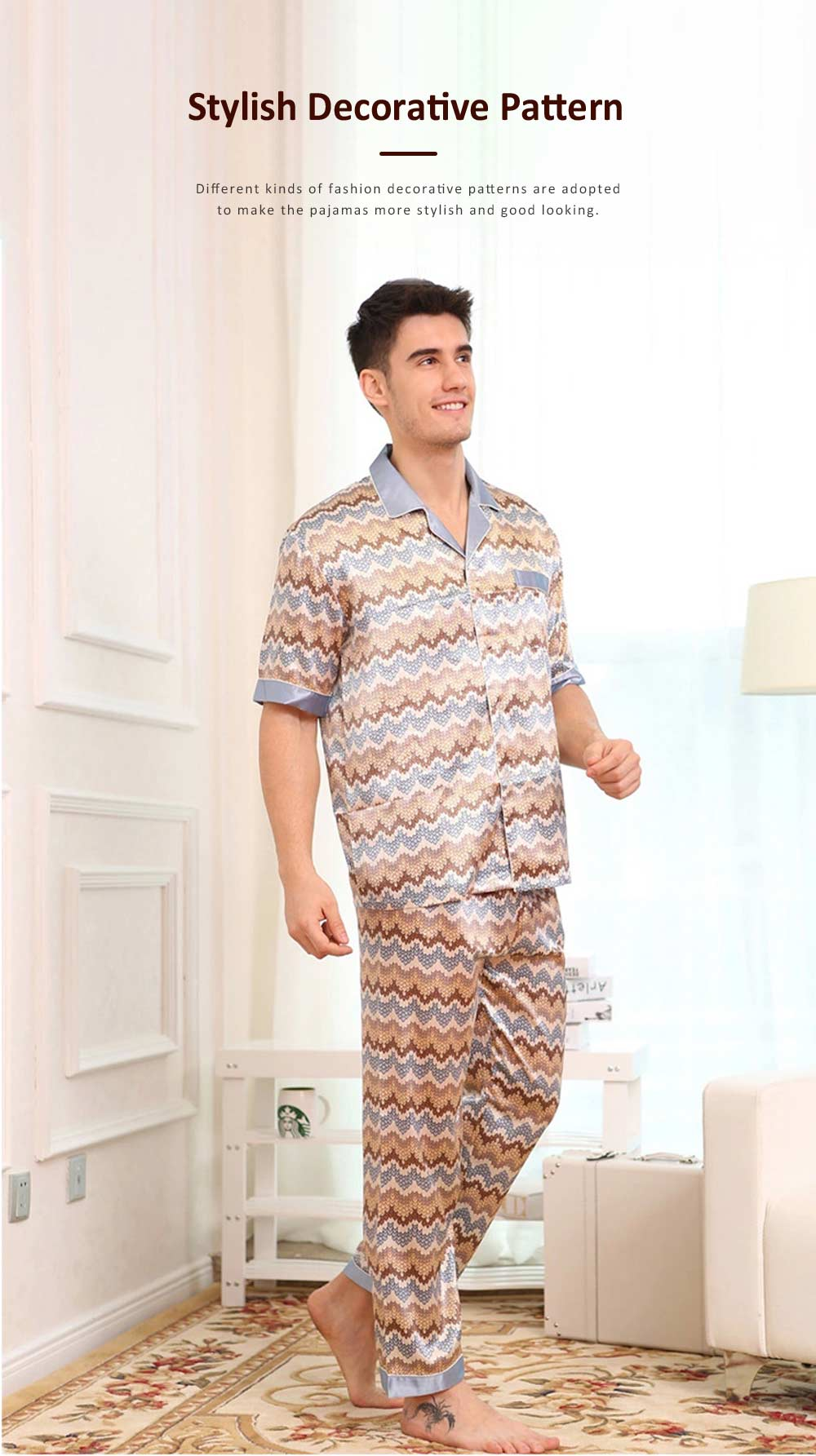 Spring Summer Artificial Silk Men Short Sleeve Pajamas Set, Delicate Elegant Pattern Satin Long Sleepwear Suit 4