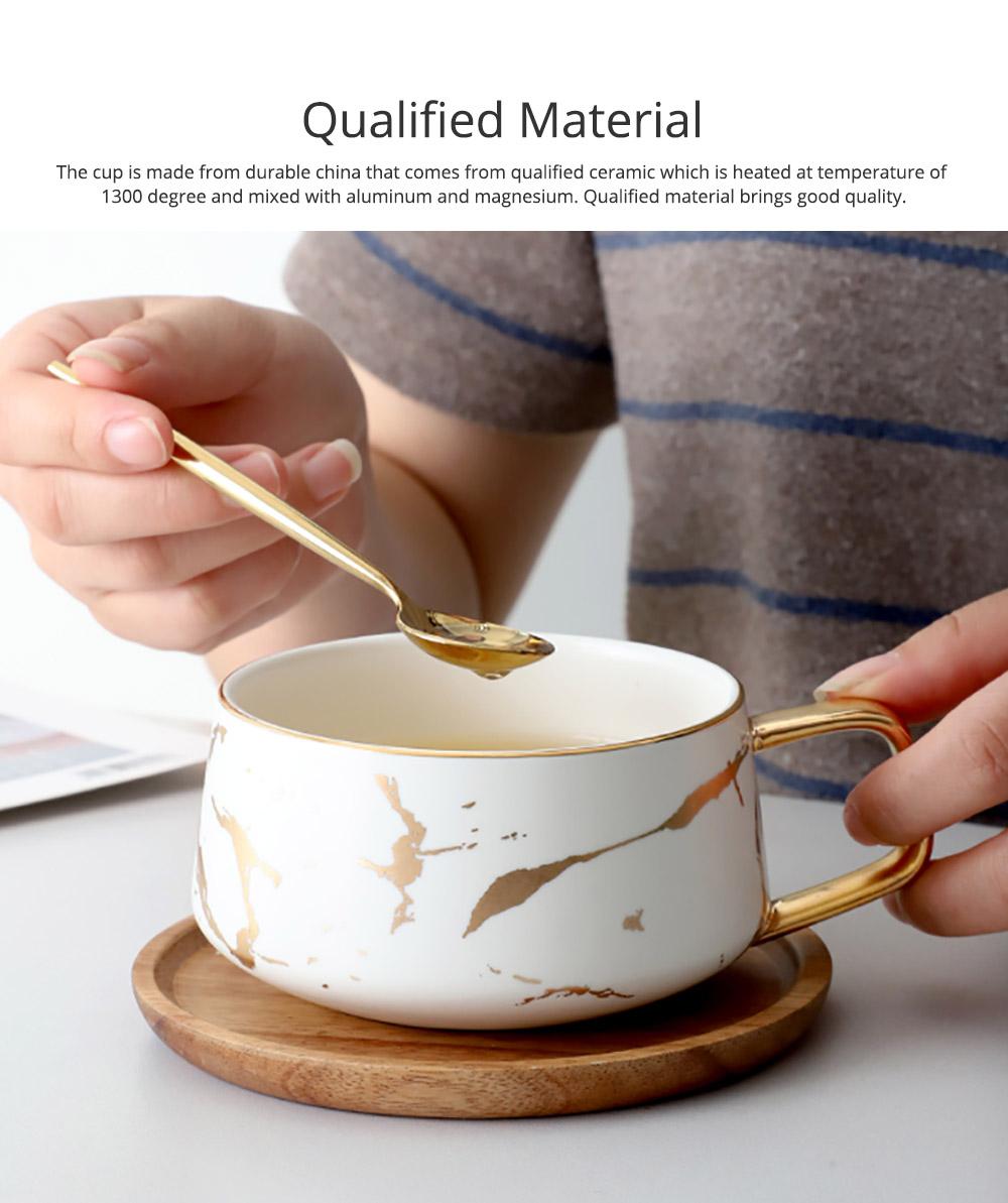 Gold Marbling Ceramic Cup Household Use Coffee Mug with Cover Saucer, Matt Golden Marbling Mug Breakfast Drinkware 2