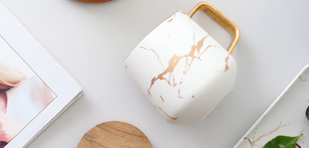 Gold Marbling Ceramic Cup Household Use Coffee Mug with Cover Saucer, Matt Golden Marbling Mug Breakfast Drinkware 5