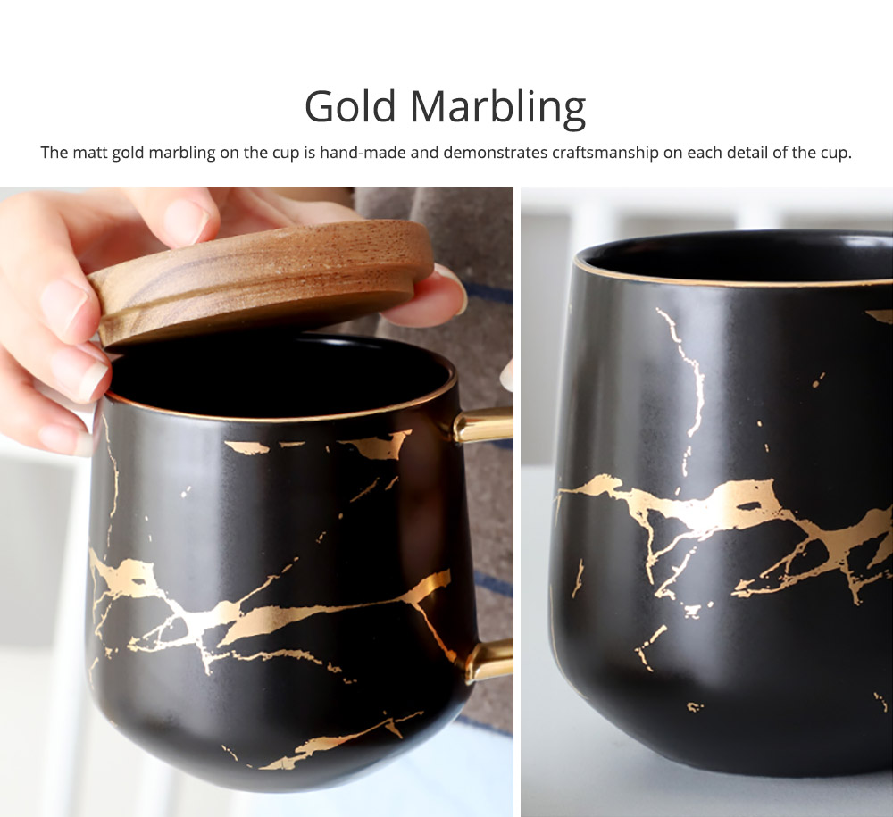 Gold Marbling Ceramic Cup Household Use Coffee Mug with Cover Saucer, Matt Golden Marbling Mug Breakfast Drinkware 3