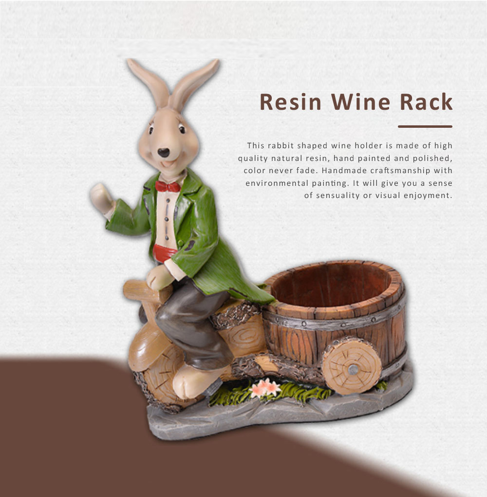 Wine Rack with Creative Cartoon Rabbit, European Resin Home Crafts Restaurant Fashion Wine Cabinet Decoration for Easter 0