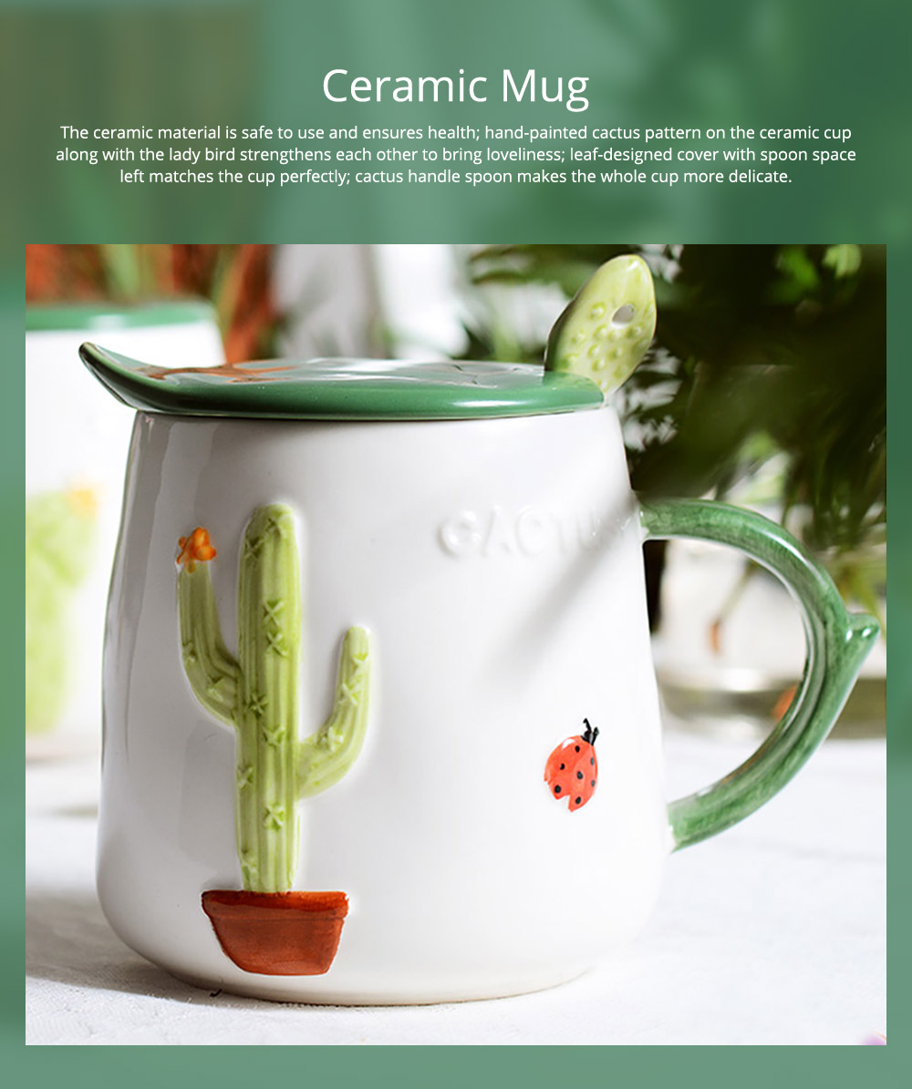 Ceramic Mug with Lid Handle for Household Use, Creative Ceramic Coffee Cup Fashionable Breakfast Cup with Spoon Trending Office Drinking Cup 0
