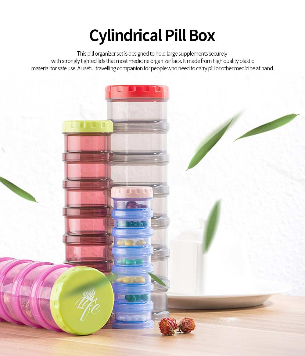 Cylindrical Pill Box 7 Compartments BPA Free Plastic Medicine Organizer Portable Storage Box for Home Travel 0