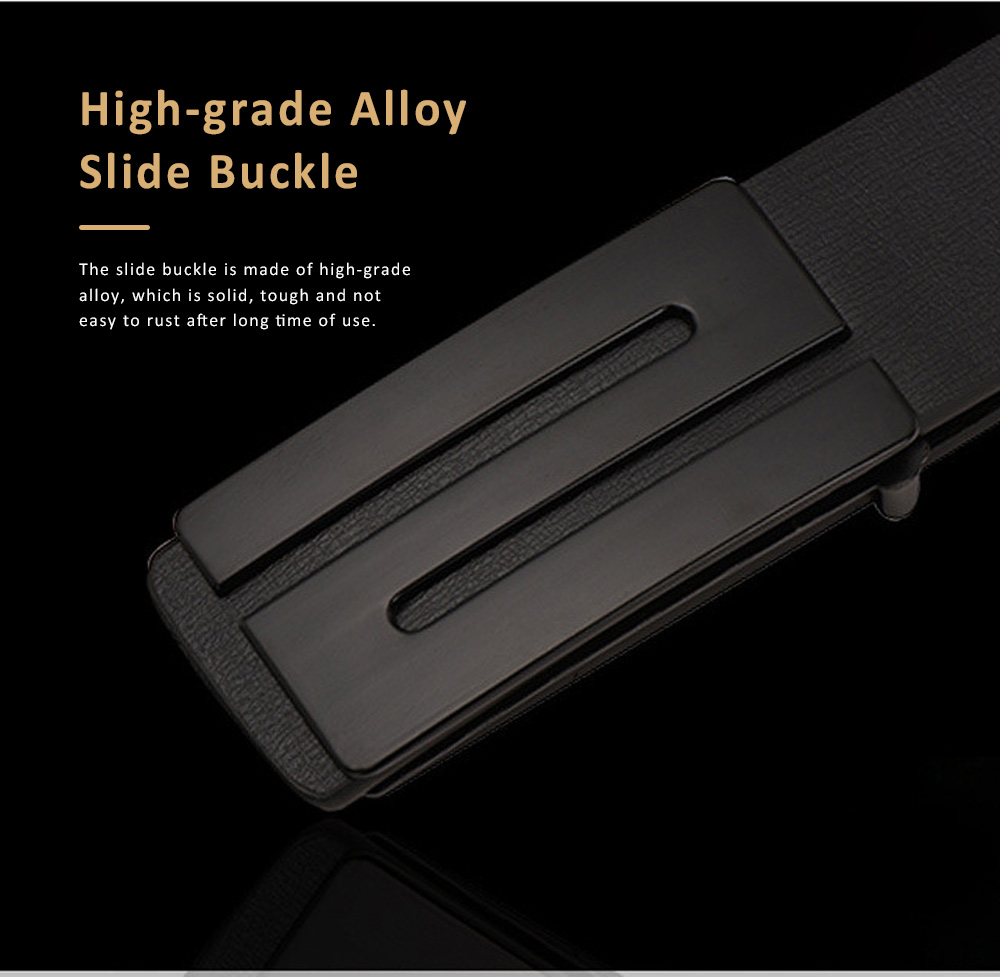 Minimalist Ultra-soft Smooth PU Men Alloy Slide Buckle Belt, Casual Youth Waist Band for Men Students 2