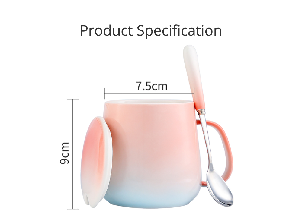 Ceramic Gradient Ramp Color Cup for Household Use Coffee Cup with Cover & Spoon Lovers' Choice Office Cup Ceramic Cup for Breakfast Large Capacity Coffee Mug 6