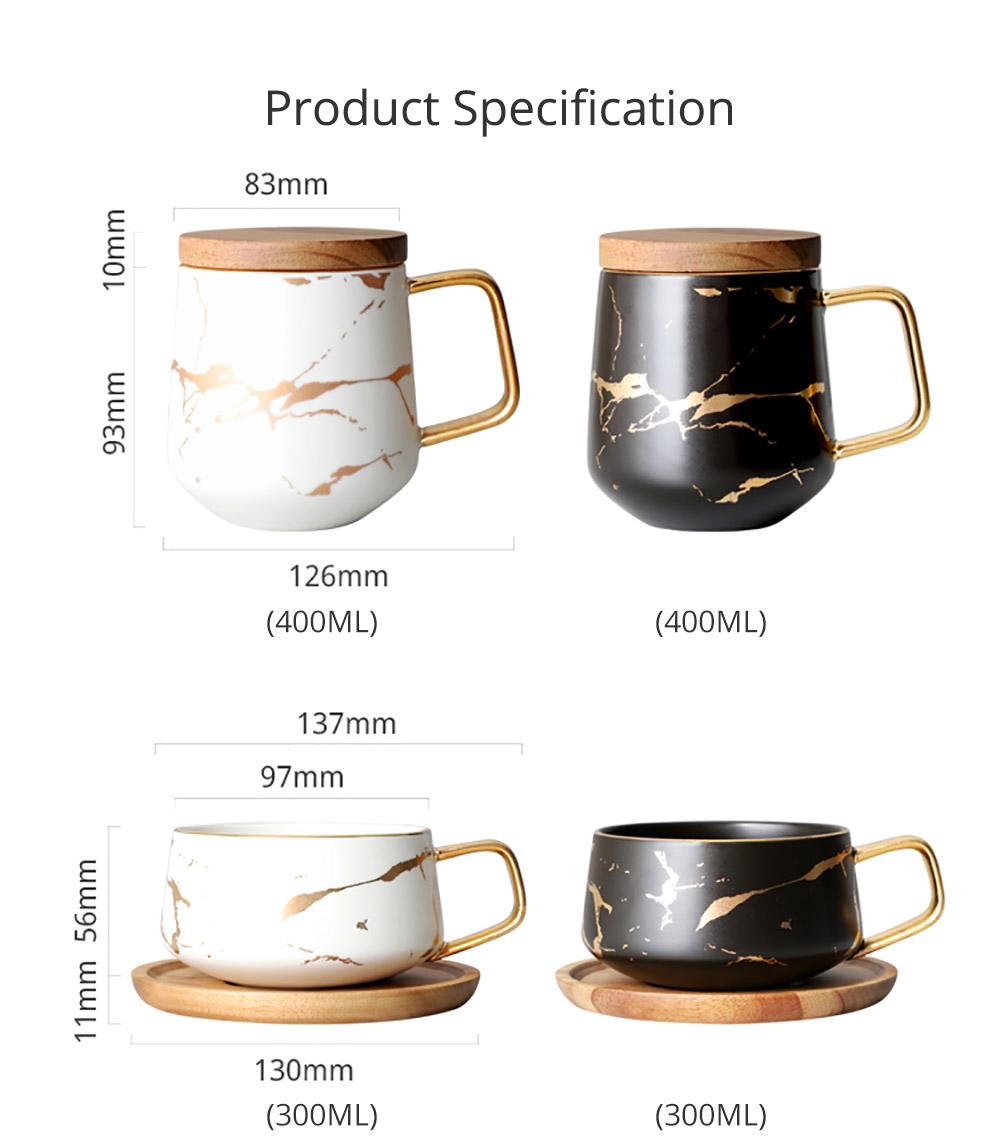 Gold Marbling Ceramic Cup Household Use Coffee Mug with Cover Saucer, Matt Golden Marbling Mug Breakfast Drinkware 7
