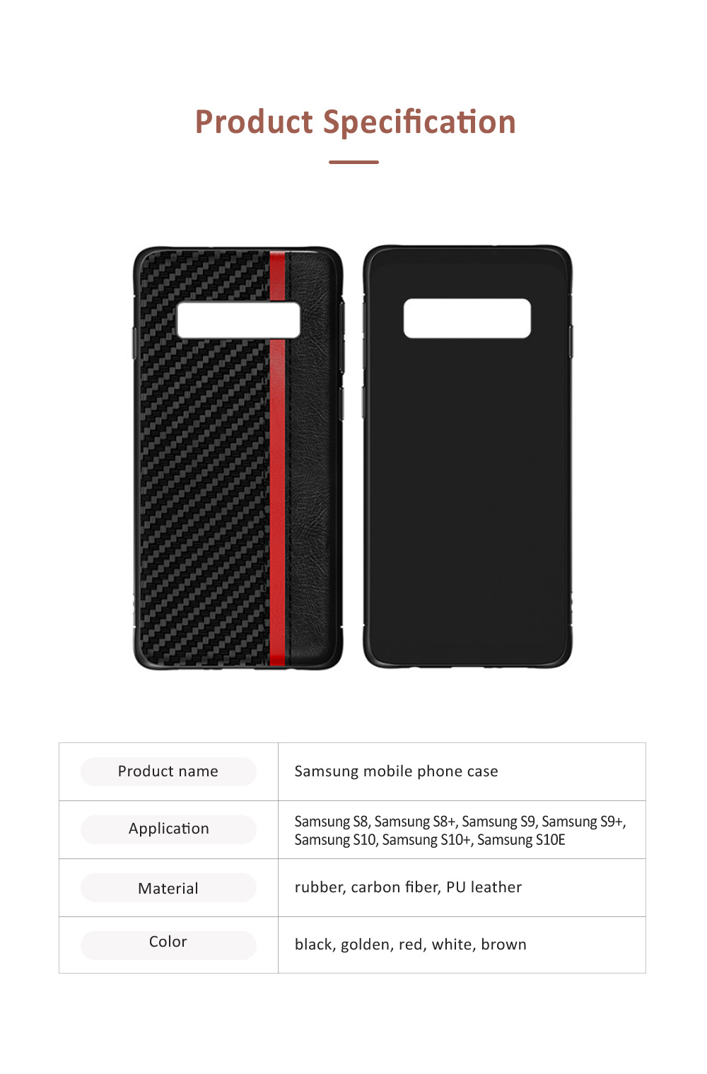 Minimalist Fashion Samsung Phone Case with PU Leather Carbon Fiber Combination, Business Mobile Phone Case for Samsung S8+ S9+ S10+ S10E 6