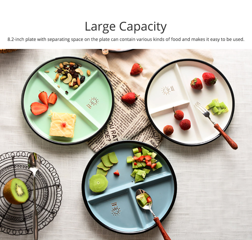 Ceramic Breakfast Dish for Household Use Smiley Plate Creative Snack Dish Salad Plate  Separation Plate Smiling Face Separating Plate Tableware 6