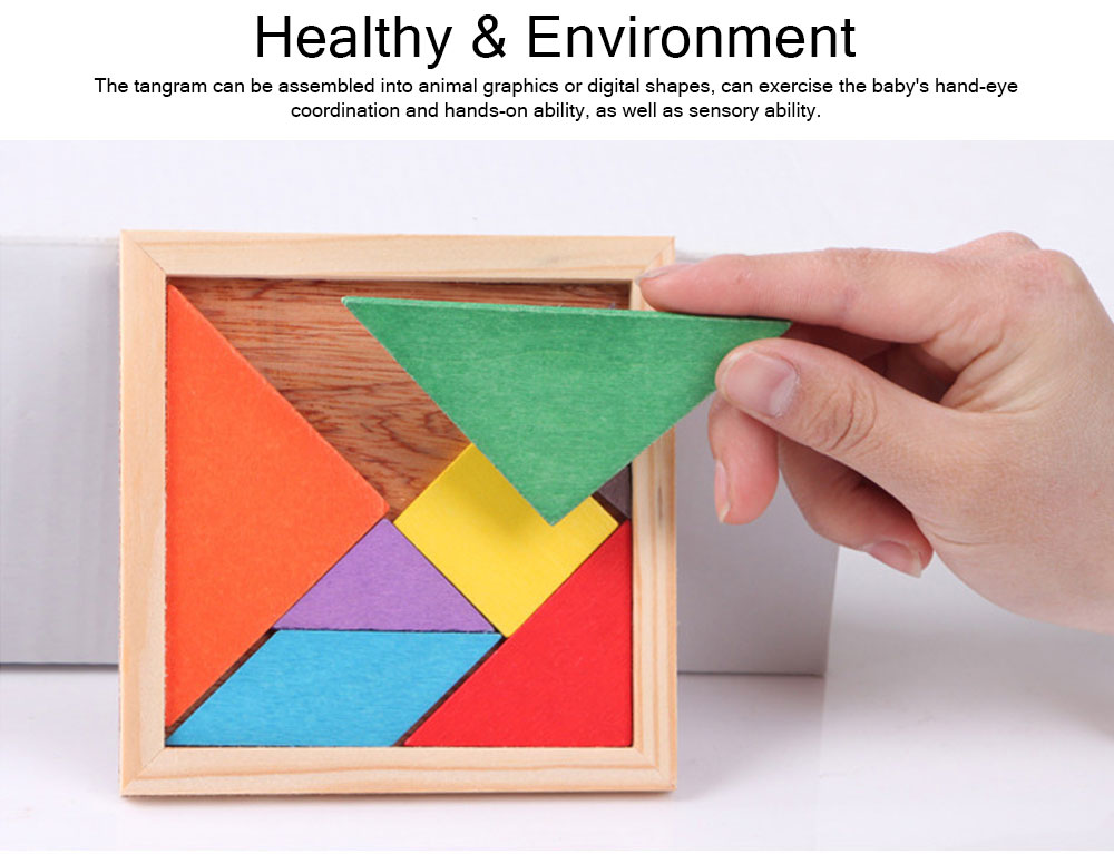 Geometric Shapes Puzzles with Wood Material, Colorful Environmental Paint Construction Toys for Children Over 3 Year-old Shock-Resistant Seven-piece Puzzle 7