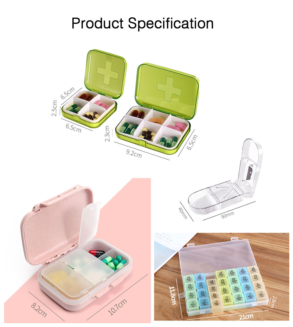 7 DAY Organizer Mini Pill Box Plastic Medicine Box for Pills Vitamin Tablets One-week Pill Organizer Container 10