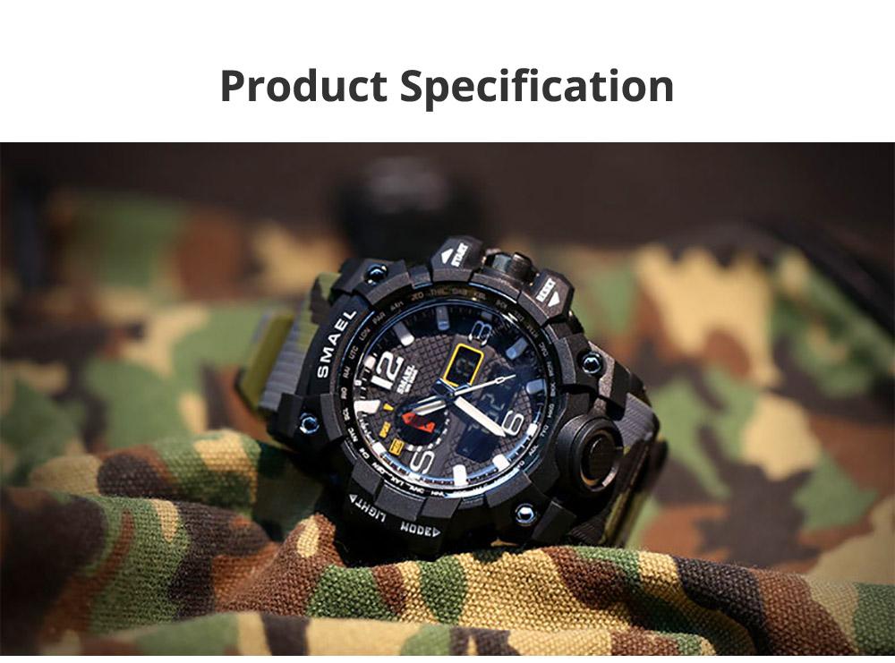 Men's Sports Analog Digital Watch, Waterproof Multifunctional Large Dial Wrist Watch for Men 6