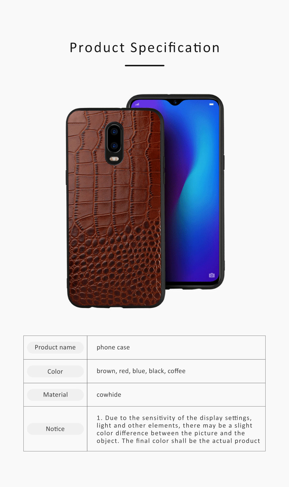 Phone Case Retro Genuine Leather 3D Alligator Skin Texture Case Fashion Phone Accessories for OPPOR Series 6