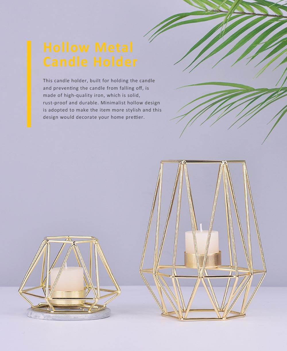 Elegant Golden Hollow Solid Metal Candle Holder, Minimalist Romantic Pink Golden Candler Table Accessories Decoration 0