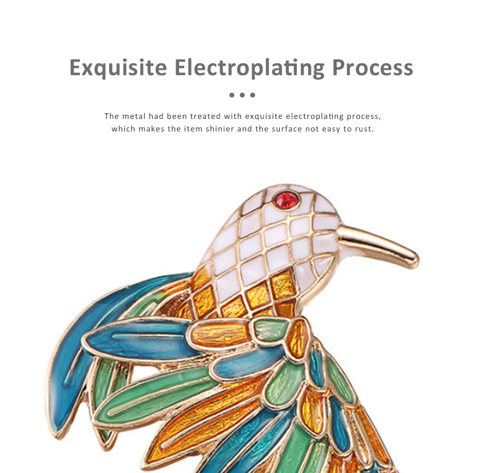 Delicate Fancy Bird of Paradise Model Breastpin for Ladies, Colorful Oil-spot Glaze Brooch Clothes Ornament Decoration 3