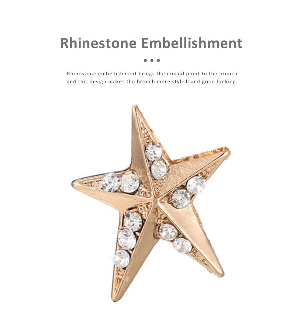 Sun Star Moon Breastpin, Fancy Delicate Shiny Alloy Brooch Scarf Ornament Oil-spot Glaze Rhinestone Decoration Brooch 3