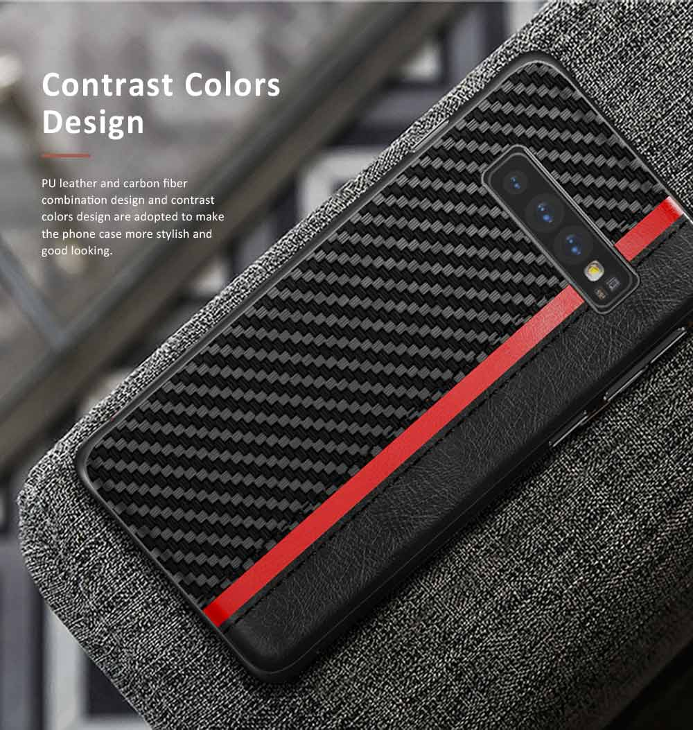 Minimalist Fashion Samsung Phone Case with PU Leather Carbon Fiber Combination, Business Mobile Phone Case for Samsung S8+ S9+ S10+ S10E 5
