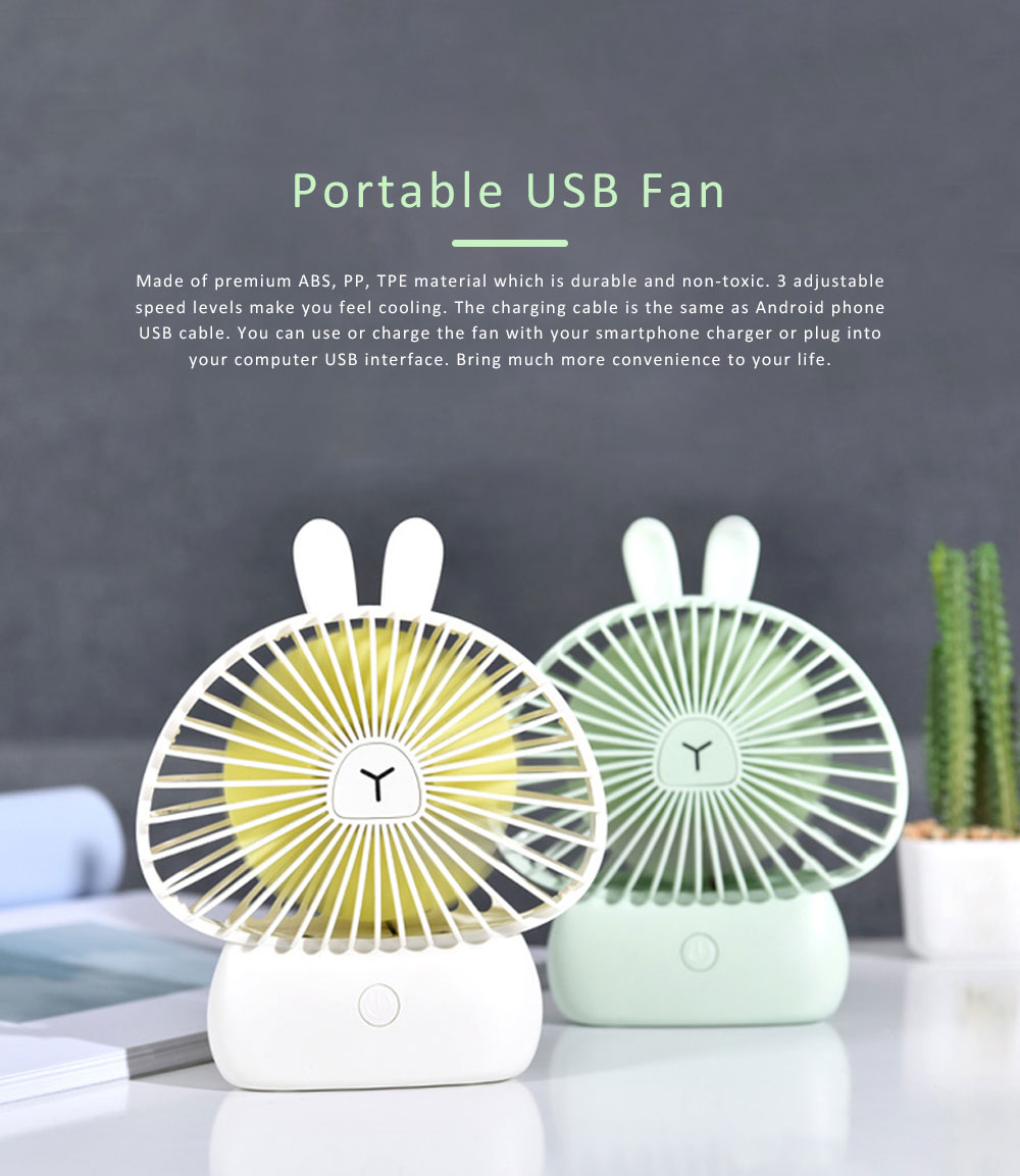 Portable Desk USB Fan Mini Stroller Table Fan with USB Rechargeable Battery Small Size 4 Speeds for Home Office and Dorm-White 0
