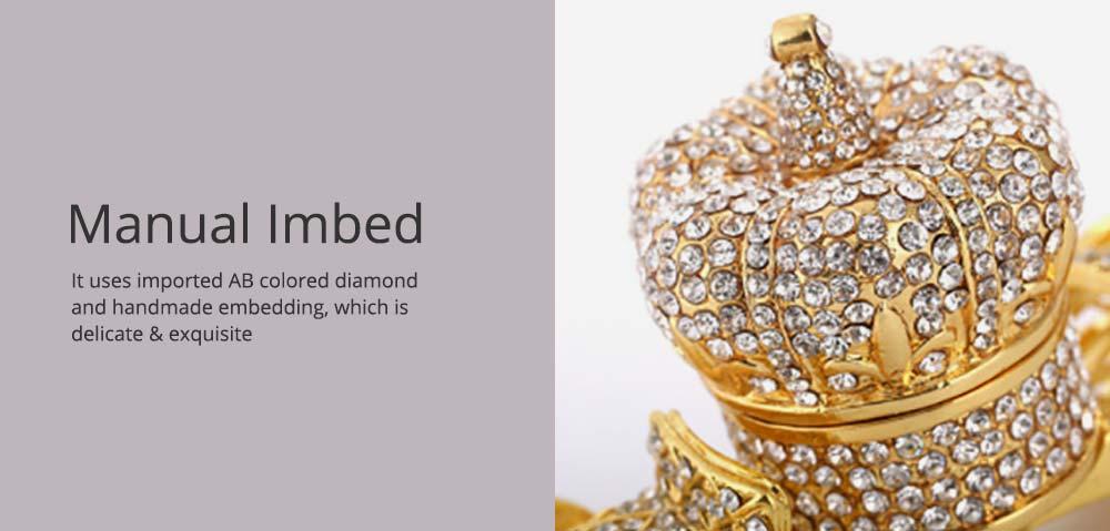 European Style Luxury Jewelry Storage Case, Diamond-mounted Artwork Crown Storage Box with Car-shaped Decoration Ornament  3