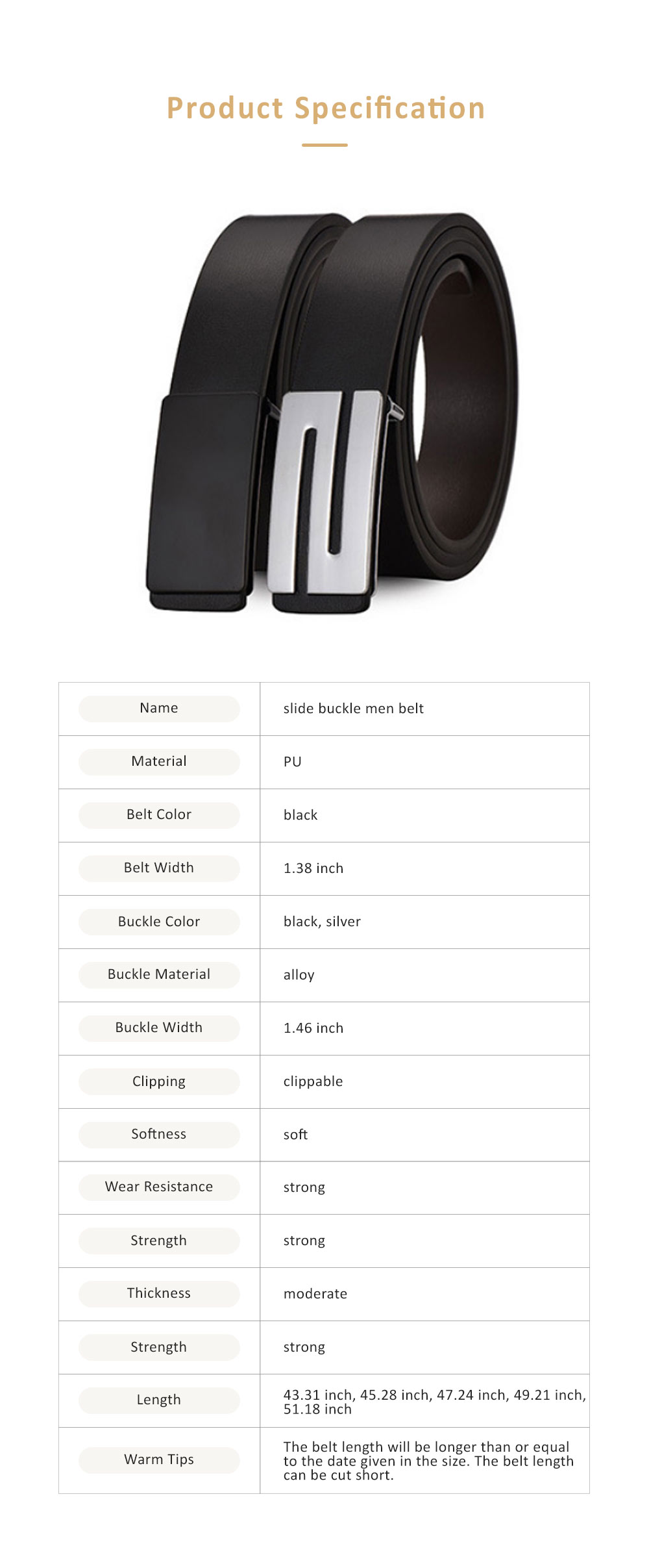 Minimalist Ultra-soft Smooth PU Men Alloy Slide Buckle Belt, Casual Youth Waist Band for Men Students 5