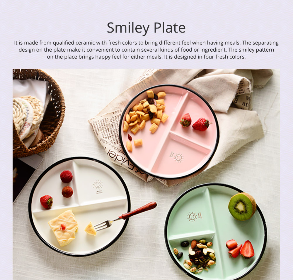 Ceramic Breakfast Dish for Household Use Smiley Plate Creative Snack Dish Salad Plate  Separation Plate Smiling Face Separating Plate Tableware 0