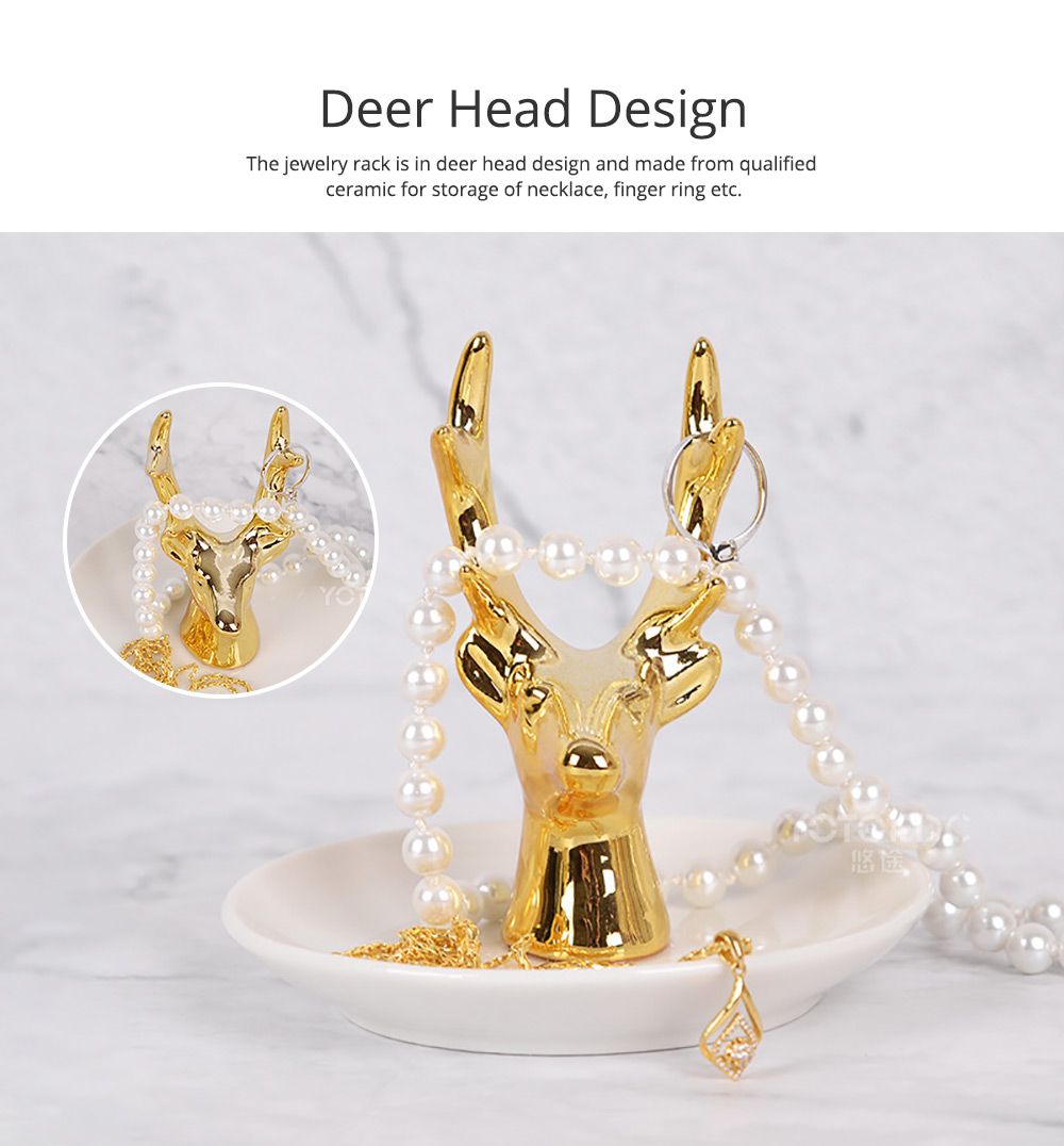 North Europe Deer Head Jewelry Rack Holder for Necklace Storage Simple Jewelry Disk Ceramic Rack Jewelry Rack Wall Mounted Golden Household Gadget 1