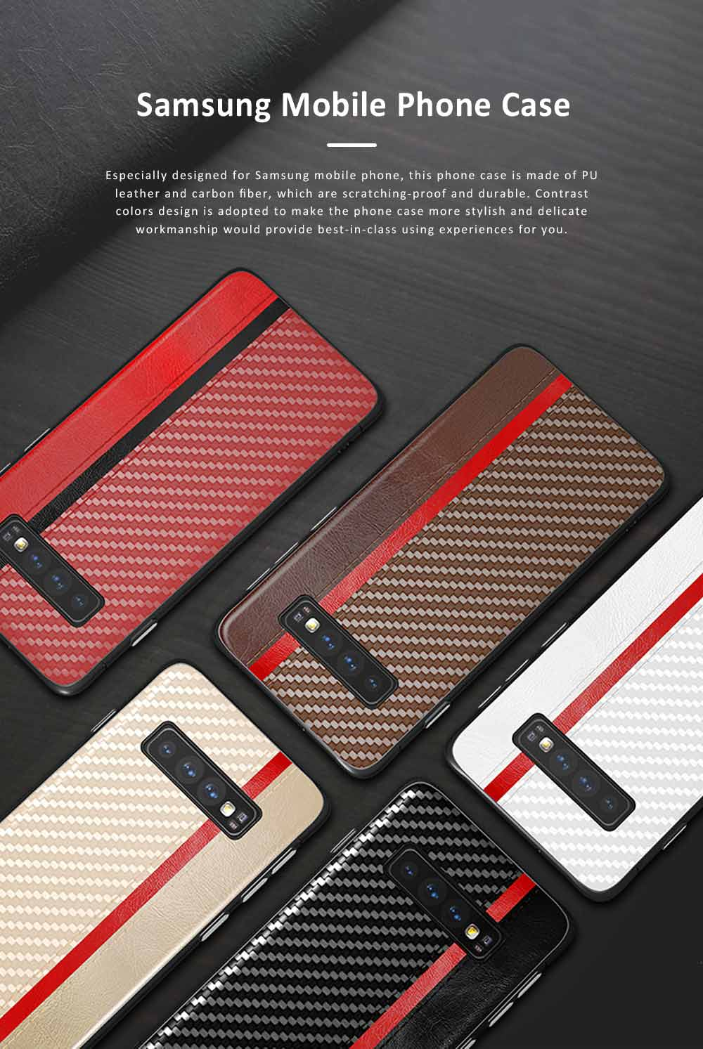 Minimalist Fashion Samsung Phone Case with PU Leather Carbon Fiber Combination, Business Mobile Phone Case for Samsung S8+ S9+ S10+ S10E 0