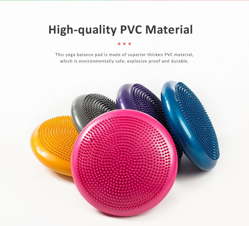 Elastic Tough Explosive Proof PVC Yoga Gym Balance Pad, Thicken Stability Massage Air Cushion Wobble Pad Balance Board Disc 1