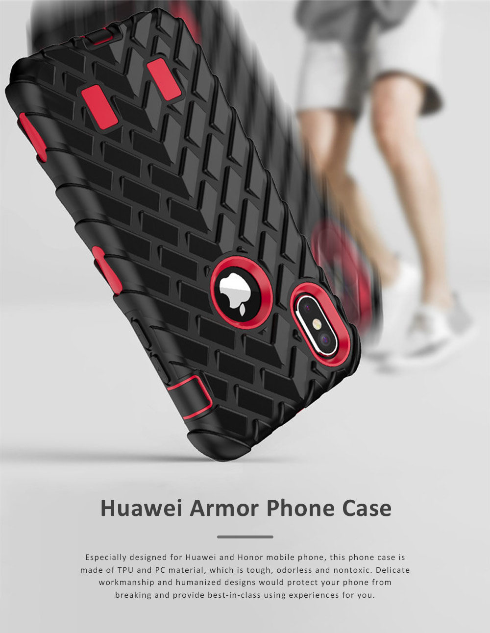 Solid Breaking-proof Huawei Armor Model Phone Case, Minimalist TPU PC Edges Hemming Phone Cover for Huawei Honor 0