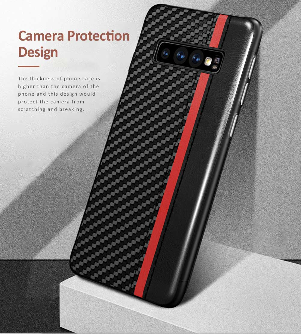 Minimalist Fashion Samsung Phone Case with PU Leather Carbon Fiber Combination, Business Mobile Phone Case for Samsung S8+ S9+ S10+ S10E 3