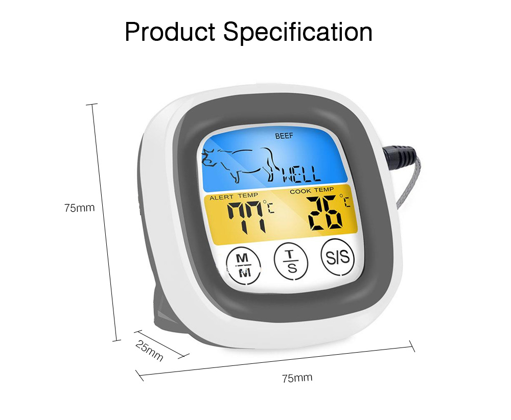 Outdoor Barbecue Thermometer Timer, Kitchen Food Digital Display Touch Thermometer, Cooking Thermometer with Food Grade Stainless Steel Probe 6