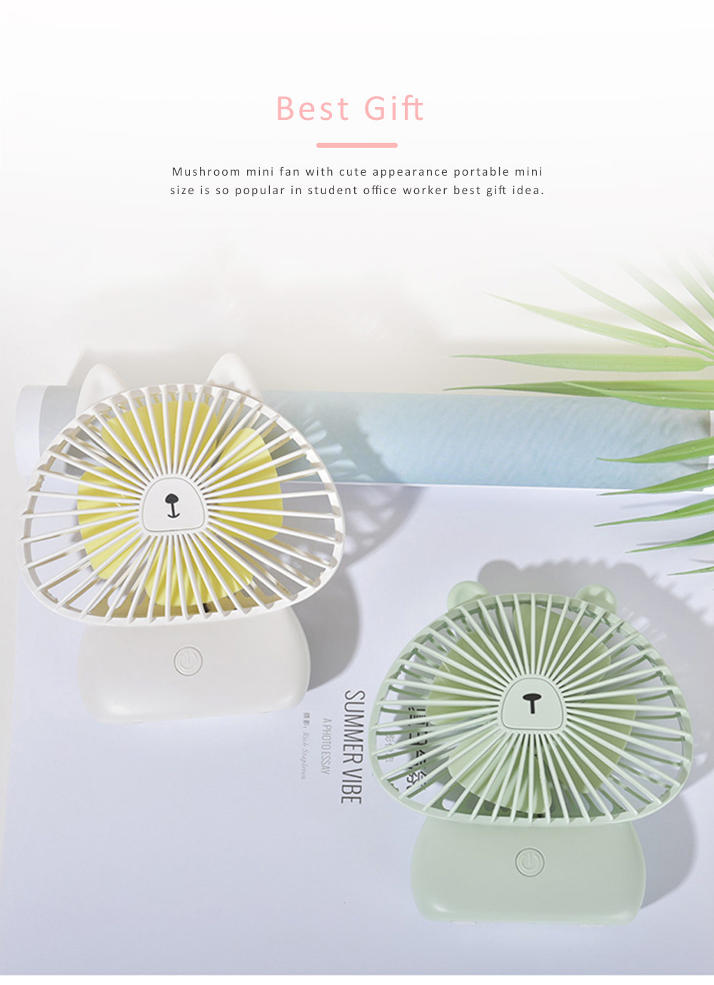 Portable Desk USB Fan Mini Stroller Table Fan with USB Rechargeable Battery Small Size 4 Speeds for Home Office and Dorm-White 5