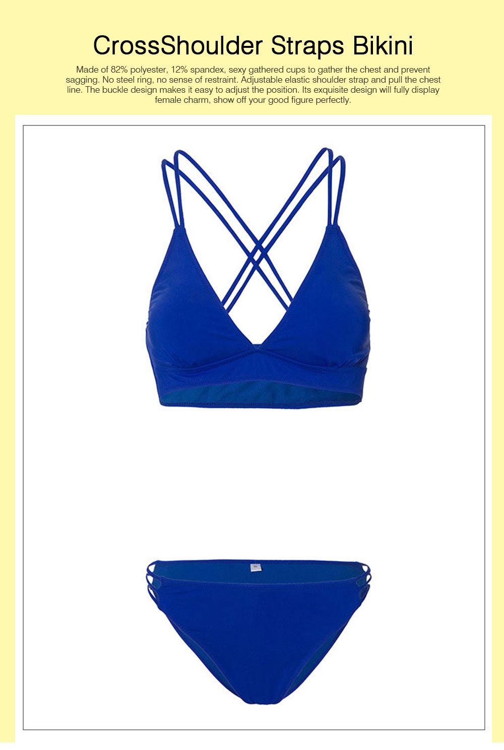 Women's Double Shoulder Straps Bikini, Cozy Ultra-Thin Sexy Triangle Cup Gathered Women's Bikini Set, No Steel Swimming Suit Bikini 0
