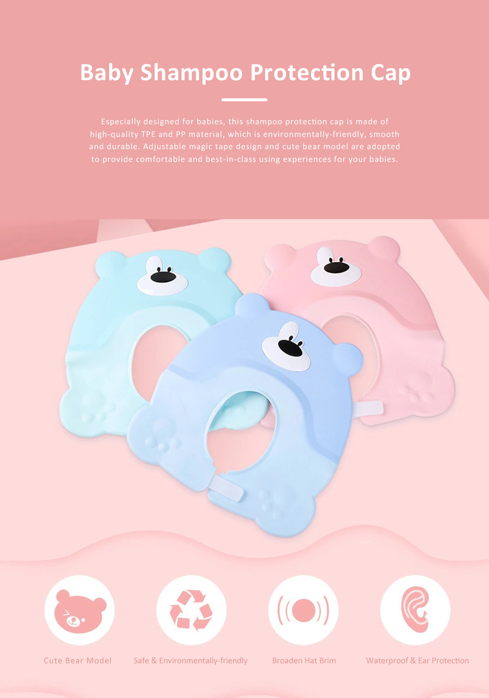 Baby Shampoo Cap for Infant, Toddlers, Newborns, Adjustable Elastic Baby Shower Bathing Ear Eye Protection Cap, Soft TPE PP Safe Shampoo Hat for Baby Children 0