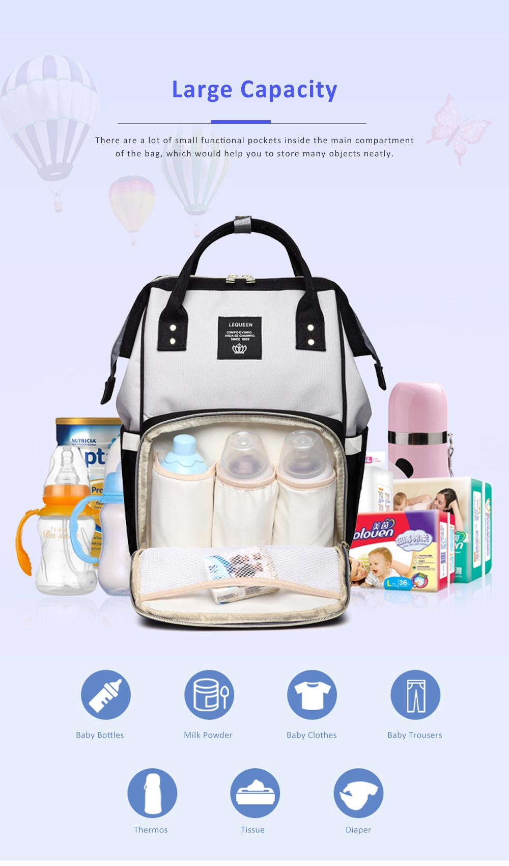Multifunctional Canvas Baby Diaper Bag, Delicate Luxury Mummy Maternity Nappy Travel Messenger Backpack 2