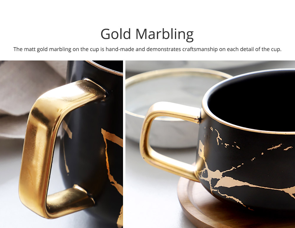 Gold Marbling Ceramic Cup Household Use Coffee Mug with Cover Saucer, Matt Golden Marbling Mug Breakfast Drinkware 1