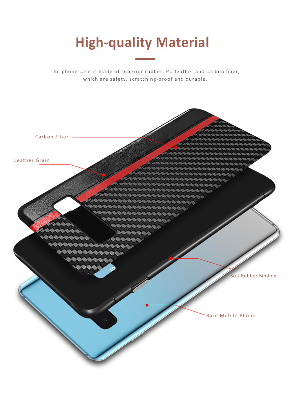 Minimalist Fashion Samsung Phone Case with PU Leather Carbon Fiber Combination, Business Mobile Phone Case for Samsung S8+ S9+ S10+ S10E 1