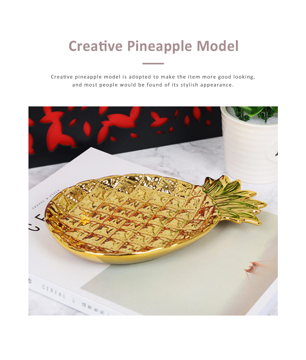 Golden Pineapple Model Ceramics Dish with Creative Shiny Electroplating , Exquisite Jewelry Storage Dessert Fruits Tray 3