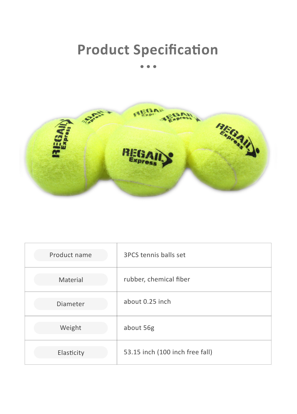3PCS General Teenagers Training Pressure Tennis Balls Set, Delicate Durable Elastic Rubber Practice Tennis 5