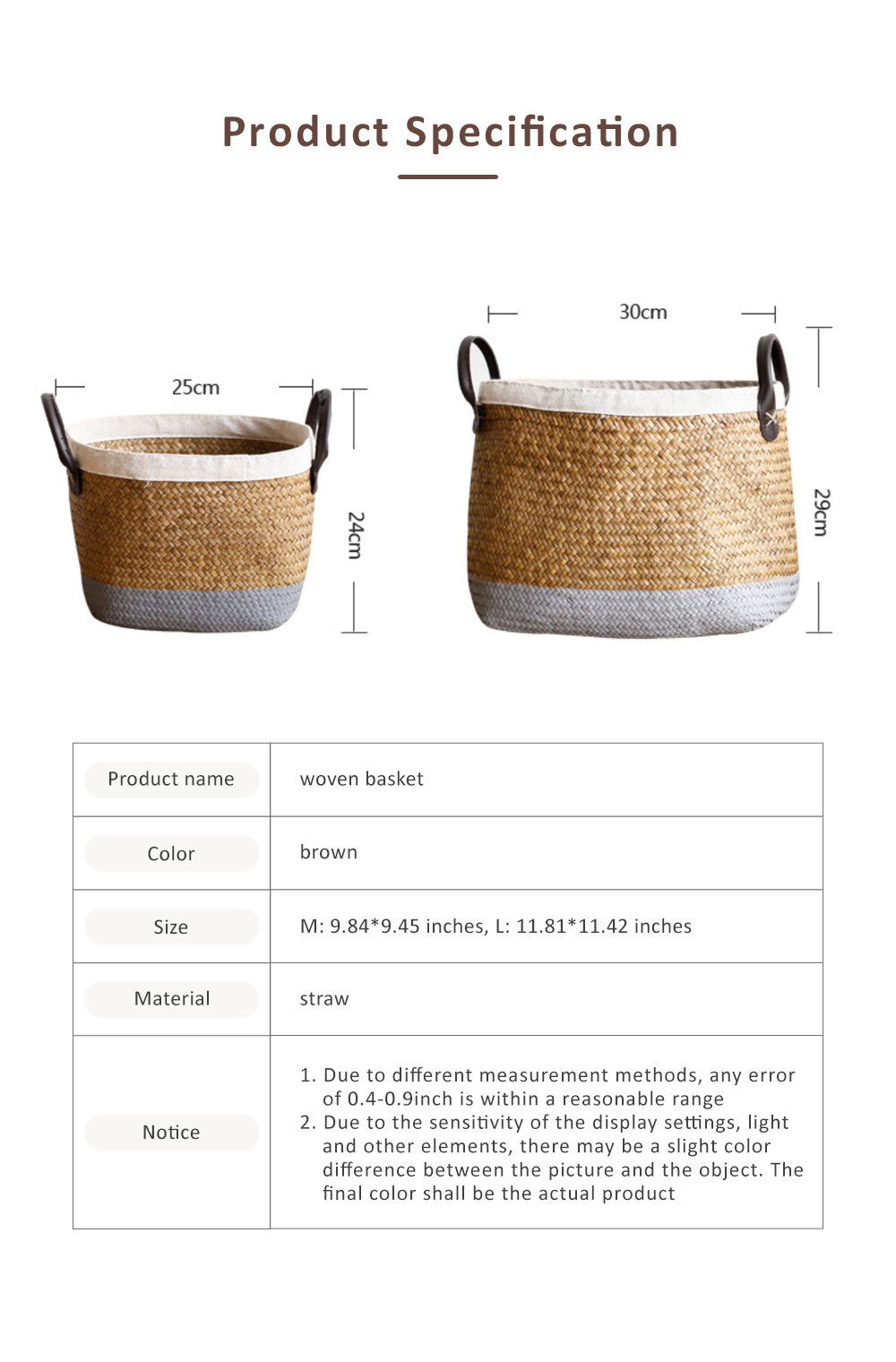 Handmade Woven Basket Large Capacity Home Toys Storage Bag Shopping Bag Fashion Home Flower Basket Decor with Leather Handle 6